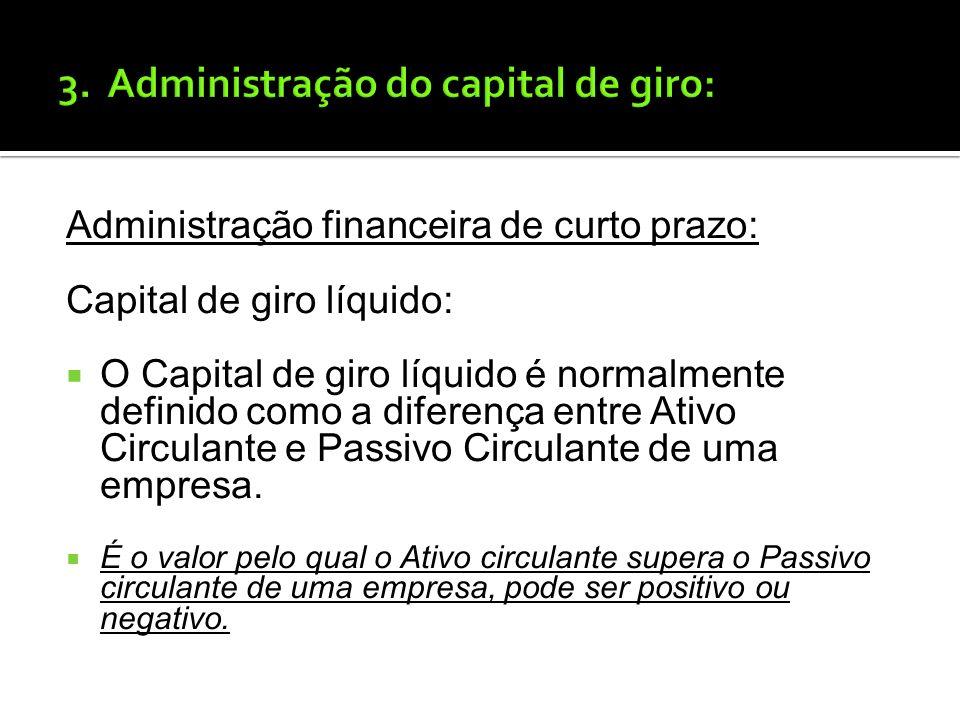 Administração financeira de curto prazo: Passivo Circulante: O passivo circulante representa o financiamento de curto prazo de uma empresa, uma vez qu