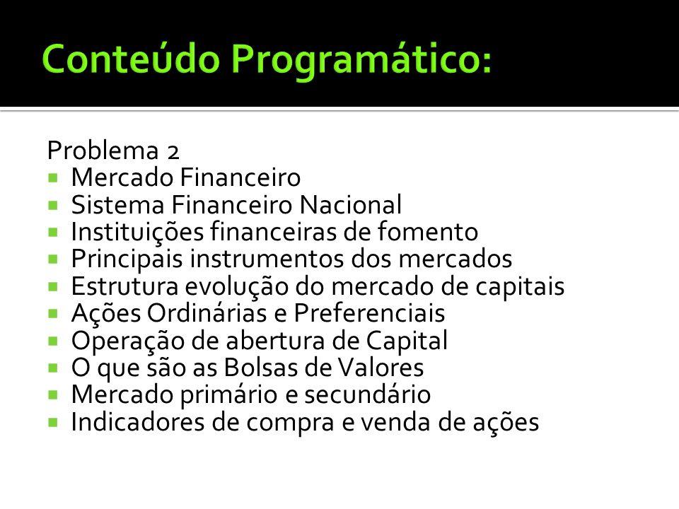Problema 1: Fundamentos, objetivos, funções e ambiente da administração financeira Evolução da administração financeira Administração financeira conte