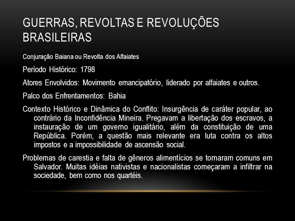 GUERRAS, REVOLTAS E REVOLUÇÕES BRASILEIRAS Conjuração Baiana ou Revolta dos Alfaiates Período Histórico: 1798 Atores Envolvidos: Movimento emancipatór