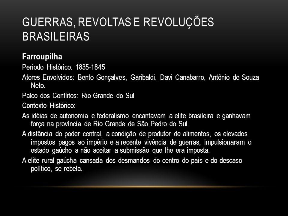 GUERRAS, REVOLTAS E REVOLUÇÕES BRASILEIRAS Farroupilha Período Histórico: 1835-1845 Atores Envolvidos: Bento Gonçalves, Garibaldi, Davi Canabarro, Ant