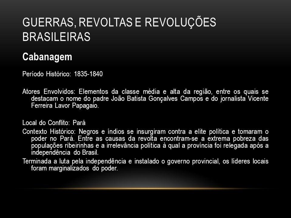 GUERRAS, REVOLTAS E REVOLUÇÕES BRASILEIRAS Cabanagem Período Histórico: 1835-1840 Atores Envolvidos: Elementos da classe média e alta da região, entre