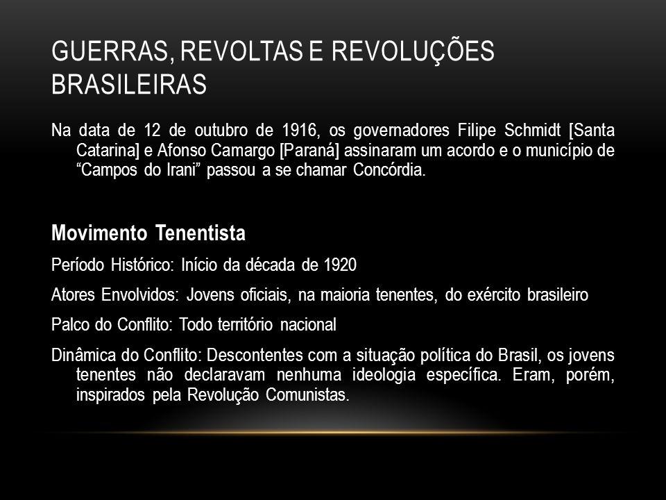 GUERRAS, REVOLTAS E REVOLUÇÕES BRASILEIRAS Na data de 12 de outubro de 1916, os governadores Filipe Schmidt [Santa Catarina] e Afonso Camargo [Paraná]