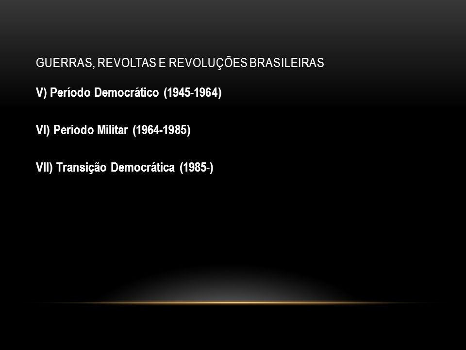 GUERRAS, REVOLTAS E REVOLUÇÕES BRASILEIRAS Guerra dos Palmares Período Histórico: Séculos XVII e XVIII Atores Envolvidos: Negros fugidos dos engenhos de açúcar Palco dos Enfrentamentos: Serra da Barriga [região de Alagoas] Contexto Histórico e Dinâmica do Conflito: Época das invasões holandesas (1624-1625) e (1630- 1654).