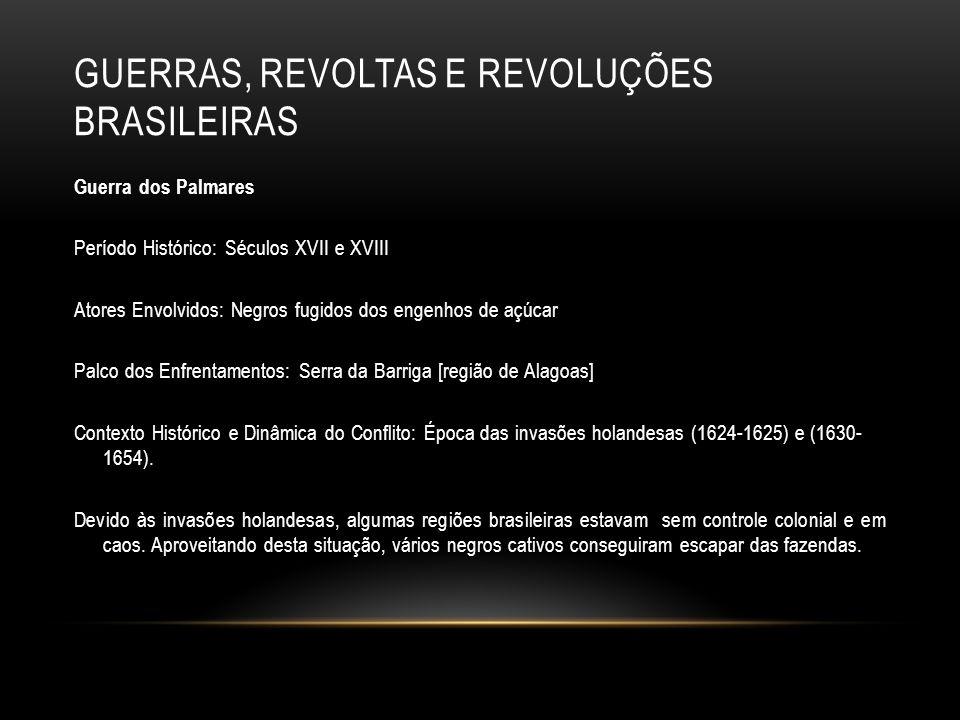 GUERRAS, REVOLTAS E REVOLUÇÕES BRASILEIRAS Guerra dos Palmares Período Histórico: Séculos XVII e XVIII Atores Envolvidos: Negros fugidos dos engenhos
