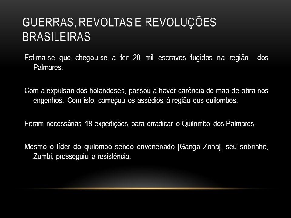 GUERRAS, REVOLTAS E REVOLUÇÕES BRASILEIRAS Estima-se que chegou-se a ter 20 mil escravos fugidos na região dos Palmares. Com a expulsão dos holandeses