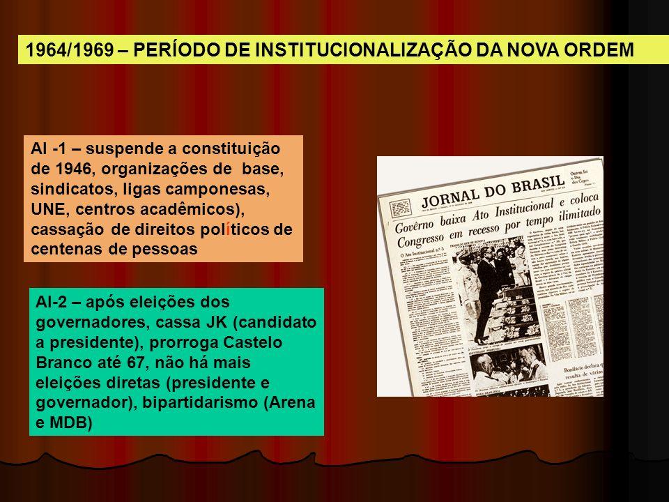 Atos Ins titu cio nais Legitimação e legalização das ações políticas dos militares. De 1964 a 1969 são decretados 17 atos institucionais regulamentado
