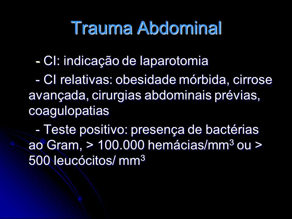 Trauma Abdominal - CI: indicação de laparotomia - CI: indicação de laparotomia - CI relativas: obesidade mórbida, cirrose avançada, cirurgias abdomina