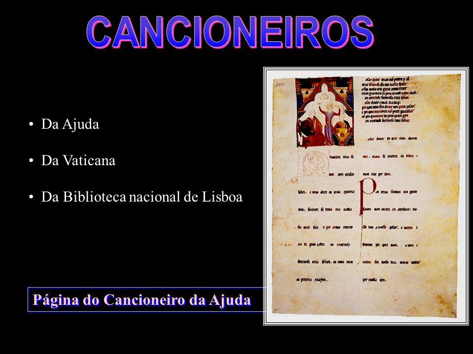 Página do Cancioneiro da Ajuda Da Ajuda Da Vaticana Da Biblioteca nacional de Lisboa