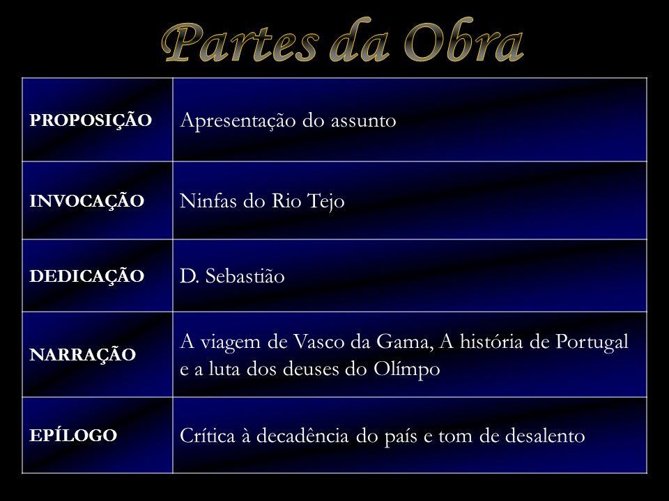 PROPOSIÇÃO Apresentação do assunto INVOCAÇÃO Ninfas do Rio Tejo DEDICAÇÃO D. Sebastião NARRAÇÃO A viagem de Vasco da Gama, A história de Portugal e a