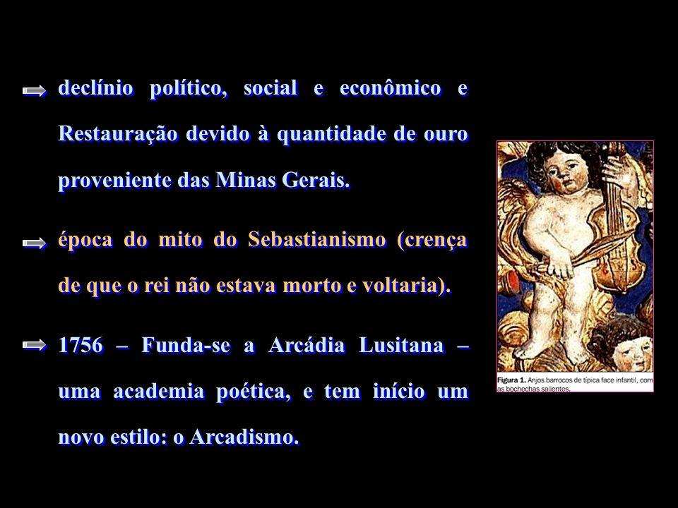 declínio político, social e econômico e Restauração devido à quantidade de ouro proveniente das Minas Gerais. época do mito do Sebastianismo (crença d