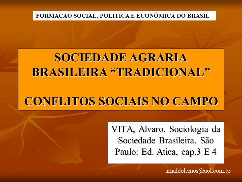 arnaldolemos@uol.com.br SOCIEDADE AGRARIA BRASILEIRA TRADICIONAL CONFLITOS SOCIAIS NO CAMPO VITA, Alvaro. Sociologia da Sociedade Brasileira. São Paul