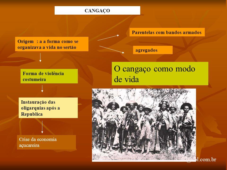 arnaldolemos@uol.com.br CANGAÇO Origem : a a forma como se organizava a vida no sertão Parentelas com bandos armados agregados Forma de violência cost
