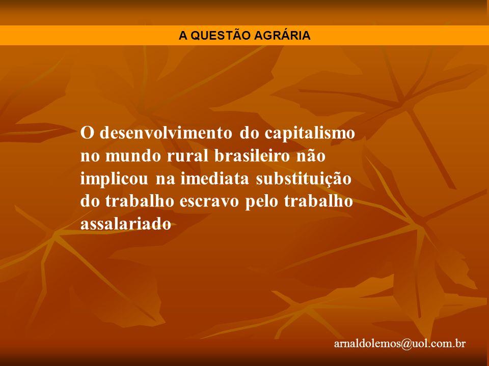 arnaldolemos@uol.com.br A QUESTÃO AGRÁRIA O desenvolvimento do capitalismo no mundo rural brasileiro não implicou na imediata substituição do trabalho