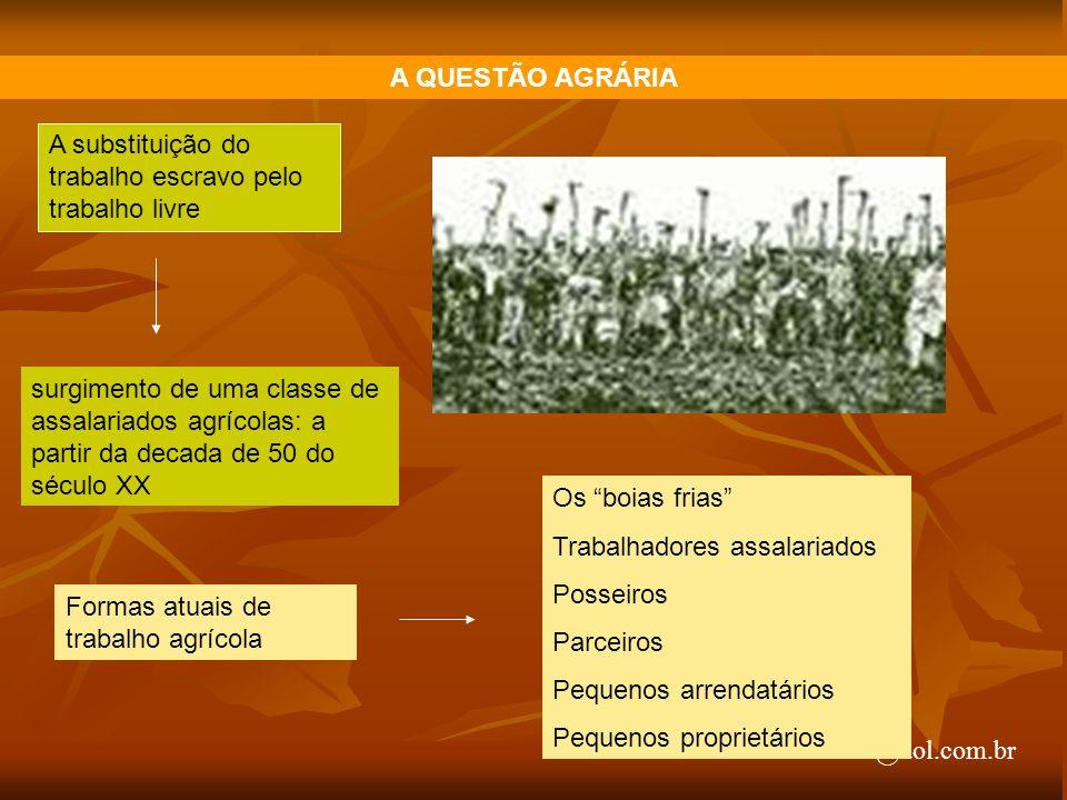 arnaldolemos@uol.com.br A QUESTÃO AGRÁRIA A substituição do trabalho escravo pelo trabalho livre surgimento de uma classe de assalariados agrícolas: a
