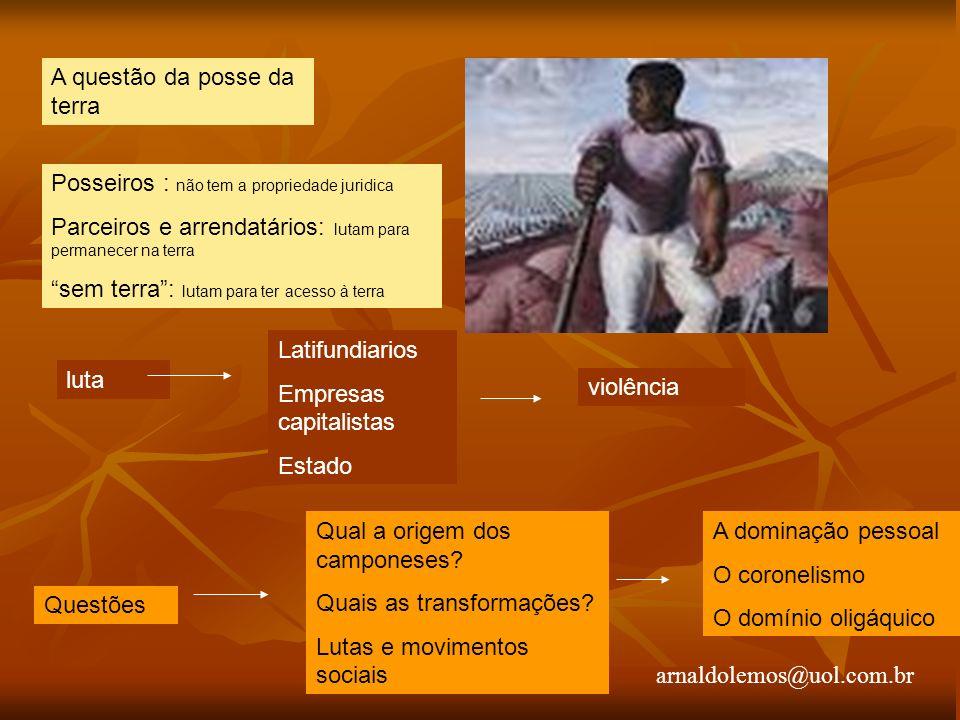 arnaldolemos@uol.com.br A questão da posse da terra Posseiros : não tem a propriedade juridica Parceiros e arrendatários: lutam para permanecer na ter