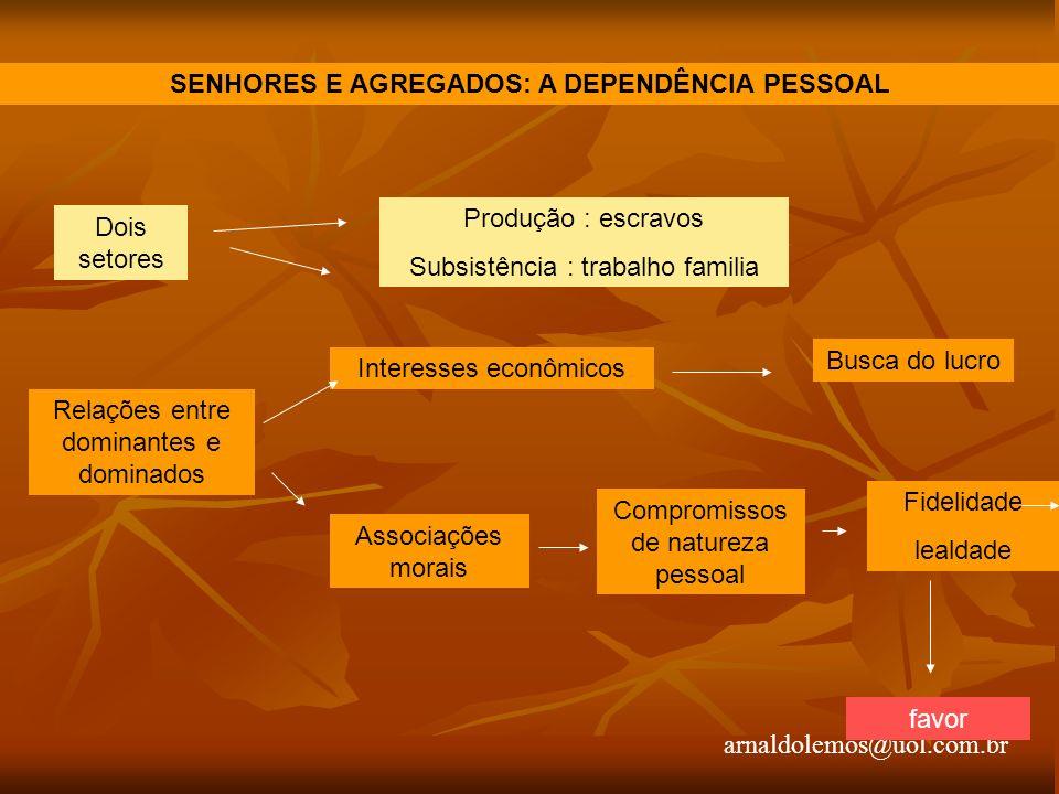 arnaldolemos@uol.com.br SENHORES E AGREGADOS: A DEPENDÊNCIA PESSOAL Dois setores Produção : escravos Subsistência : trabalho familia Relações entre do