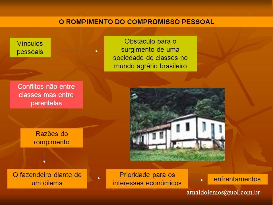 arnaldolemos@uol.com.br O ROMPIMENTO DO COMPROMISSO PESSOAL Vínculos pessoais Obstáculo para o surgimento de uma sociedade de classes no mundo agrário