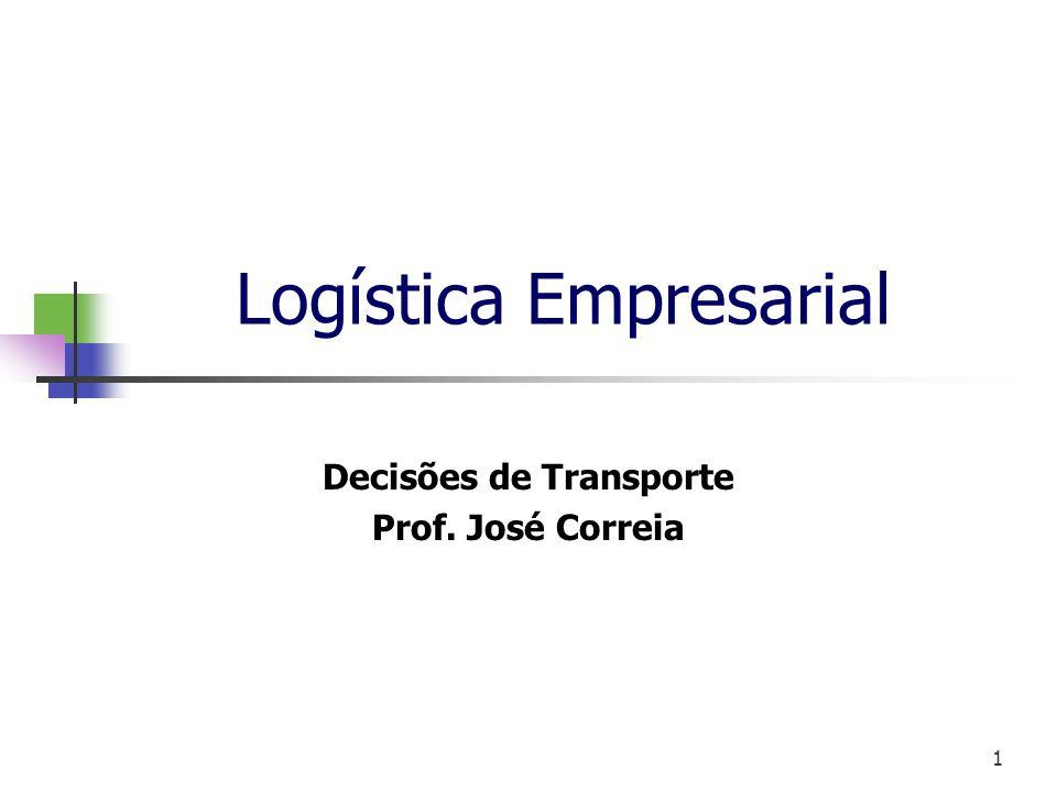 1 Logística Empresarial Decisões de Transporte Prof. José Correia