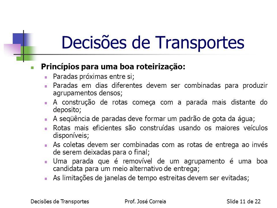 Decisões de TransportesSlide 11 de 22 Decisões de Transportes Princípios para uma boa roteirização: Paradas próximas entre si; Paradas em dias diferen