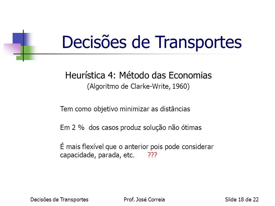 Decisões de TransportesSlide 18 de 22 Heurística 4: Método das Economias (Algoritmo de Clarke-Write, 1960) Tem como objetivo minimizar as distâncias E