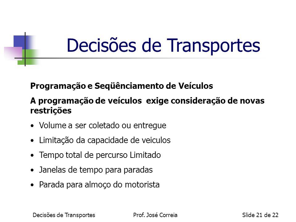 Decisões de TransportesSlide 21 de 22 Programação e Seqüênciamento de Veículos A programação de veículos exige consideração de novas restrições Volume