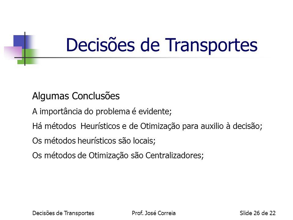 Decisões de TransportesSlide 26 de 22 Algumas Conclusões A importância do problema é evidente; Há métodos Heurísticos e de Otimização para auxilio à d