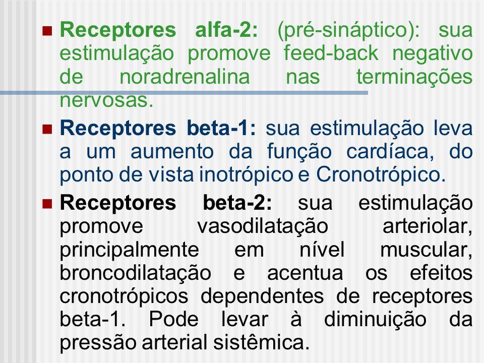 Receptores alfa-2: (pré-sináptico): sua estimulação promove feed-back negativo de noradrenalina nas terminações nervosas. Receptores beta-1: sua estim