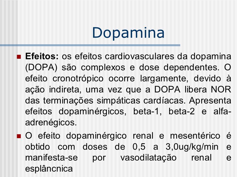 Dopamina Efeitos: os efeitos cardiovasculares da dopamina (DOPA) são complexos e dose dependentes. O efeito cronotrópico ocorre largamente, devido à a