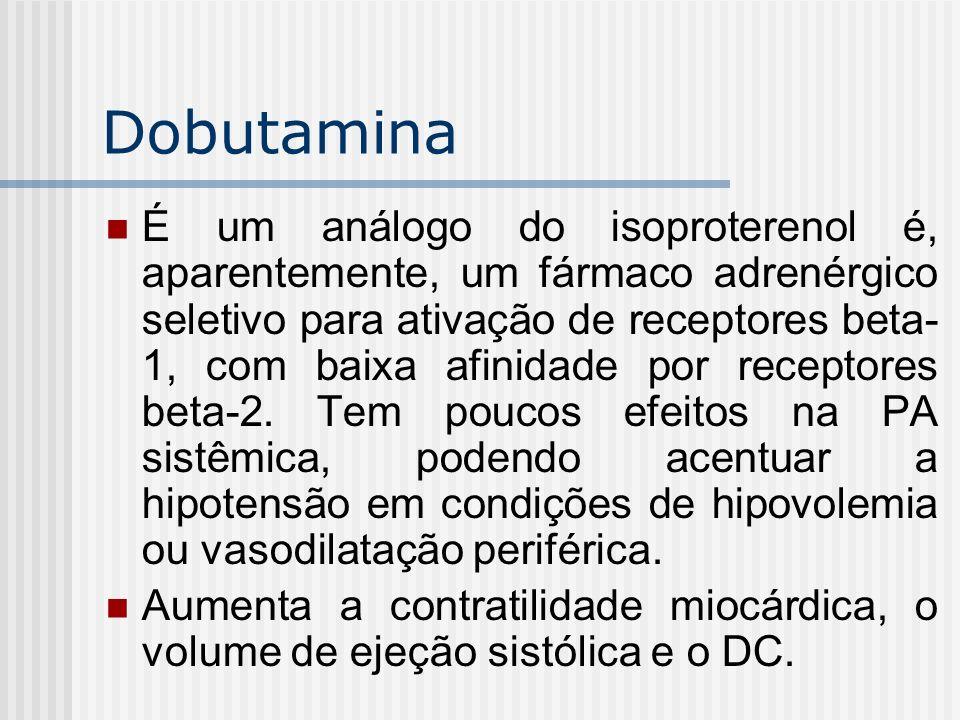 Dobutamina É um análogo do isoproterenol é, aparentemente, um fármaco adrenérgico seletivo para ativação de receptores beta- 1, com baixa afinidade po
