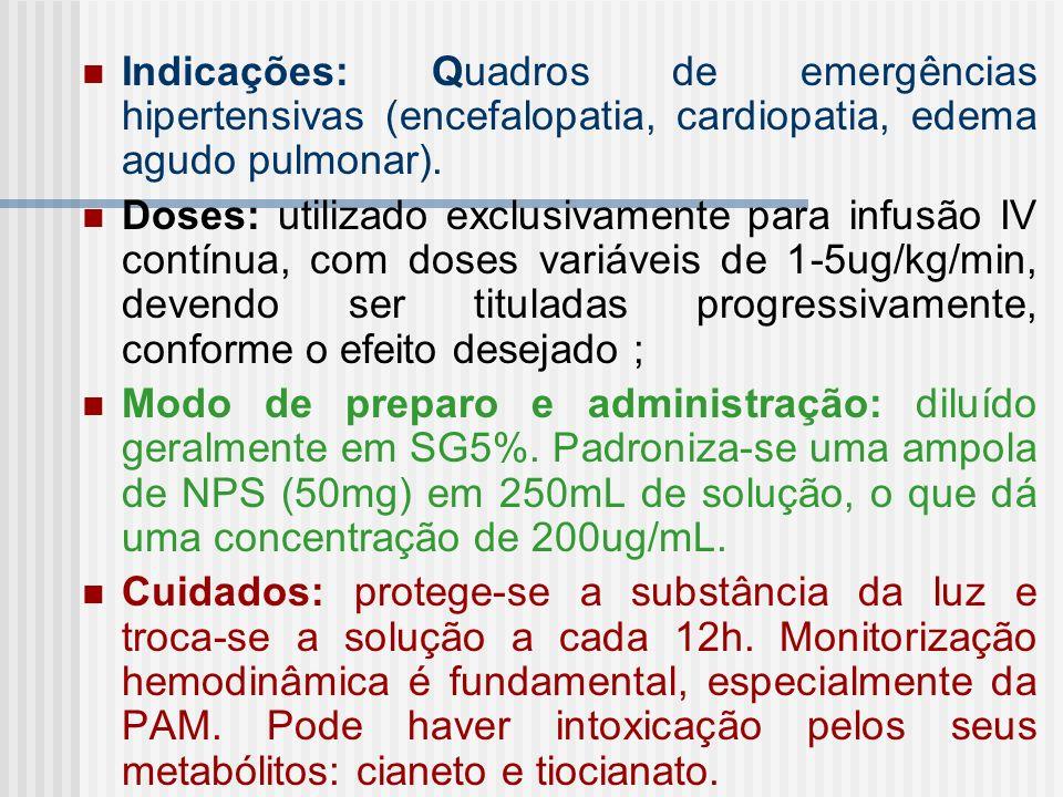 Indicações: Quadros de emergências hipertensivas (encefalopatia, cardiopatia, edema agudo pulmonar). Doses: utilizado exclusivamente para infusão IV c