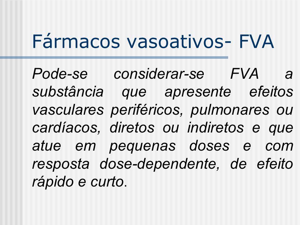 Fármacos vasoativos- FVA Pode-se considerar-se FVA a substância que apresente efeitos vasculares periféricos, pulmonares ou cardíacos, diretos ou indi
