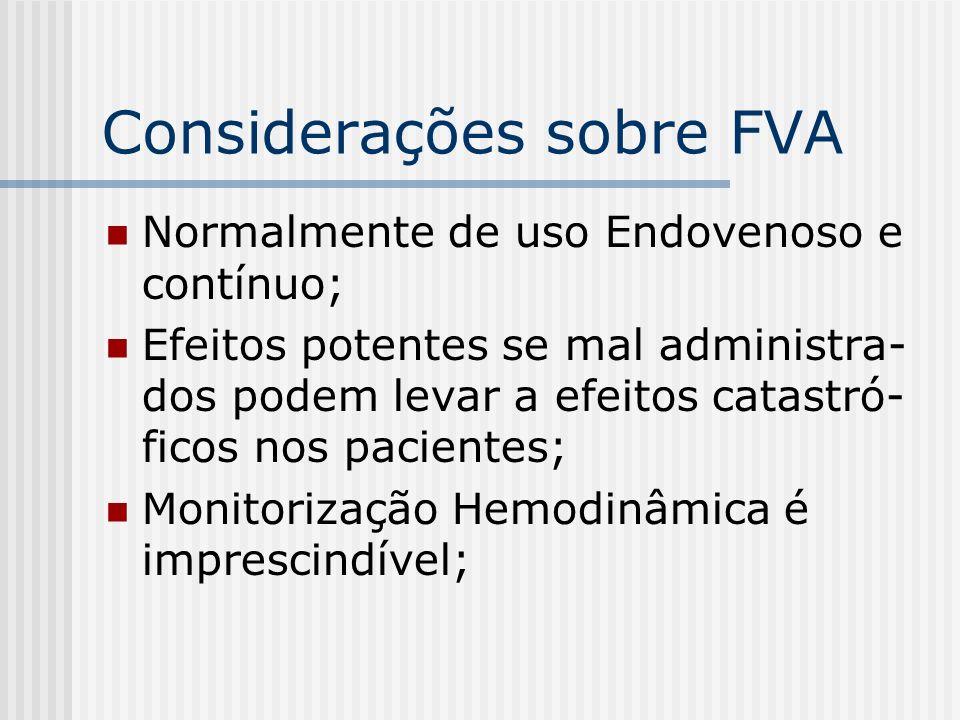 Considerações sobre FVA Normalmente de uso Endovenoso e contínuo; Efeitos potentes se mal administra- dos podem levar a efeitos catastró- ficos nos pa