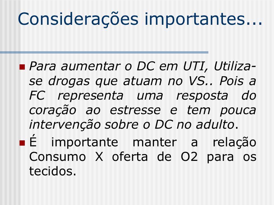 Considerações importantes... Para aumentar o DC em UTI, Utiliza- se drogas que atuam no VS.. Pois a FC representa uma resposta do coração ao estresse