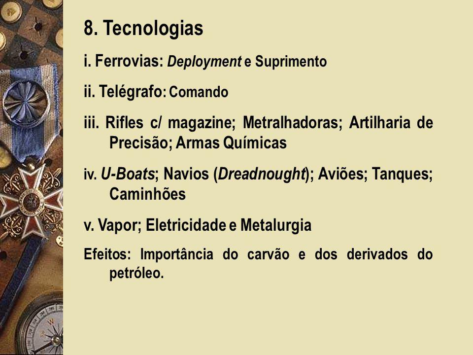 8.Tecnologias i. Ferrovias: Deployment e Suprimento ii.