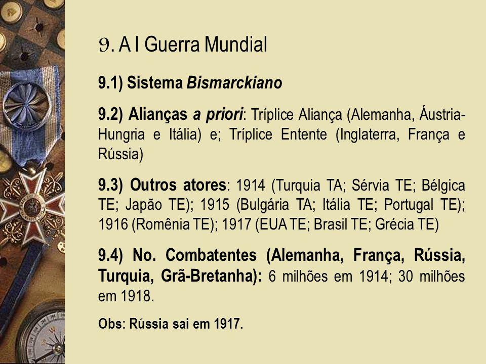 9. A I Guerra Mundial 9.1) Sistema Bismarckiano 9.2) Alianças a priori : Tríplice Aliança (Alemanha, Áustria- Hungria e Itália) e; Tríplice Entente (I