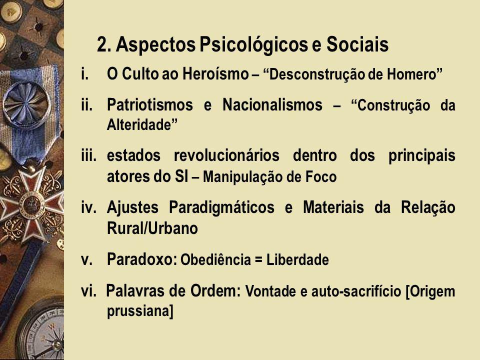 2. Aspectos Psicológicos e Sociais i.O Culto ao Heroísmo – Desconstrução de Homero ii.Patriotismos e Nacionalismos – Construção da Alteridade iii.esta