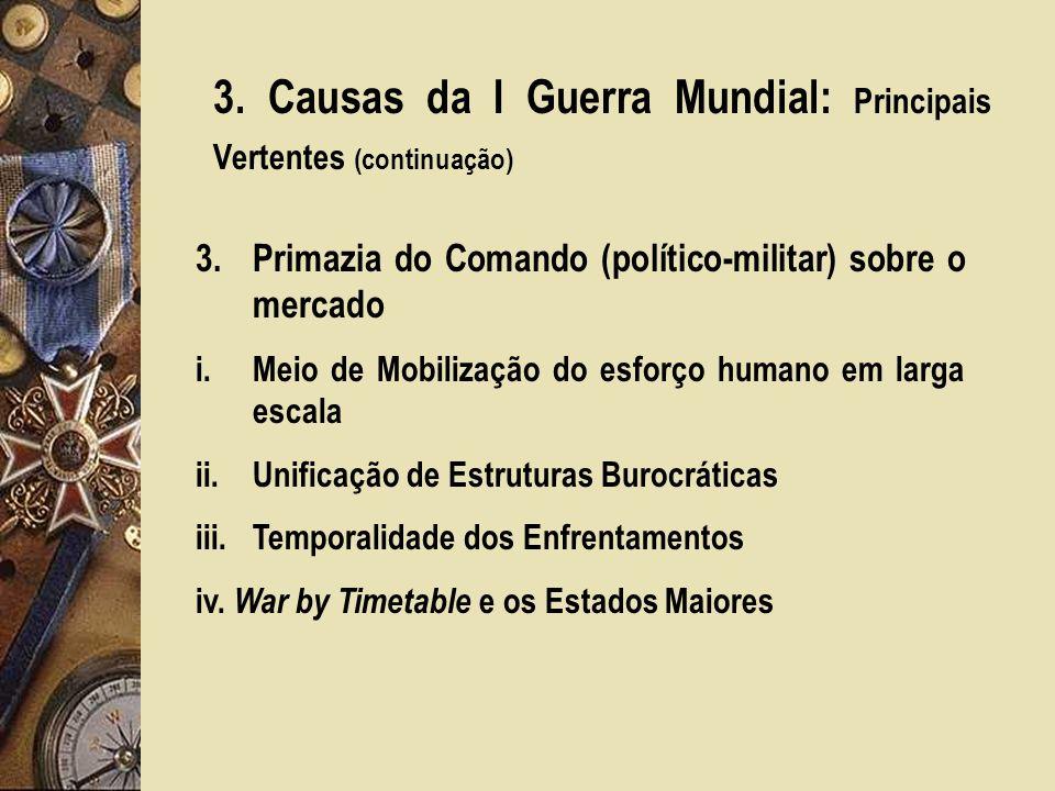 3. Causas da I Guerra Mundial: Principais Vertentes (continuação) 3.Primazia do Comando (político-militar) sobre o mercado i.Meio de Mobilização do es