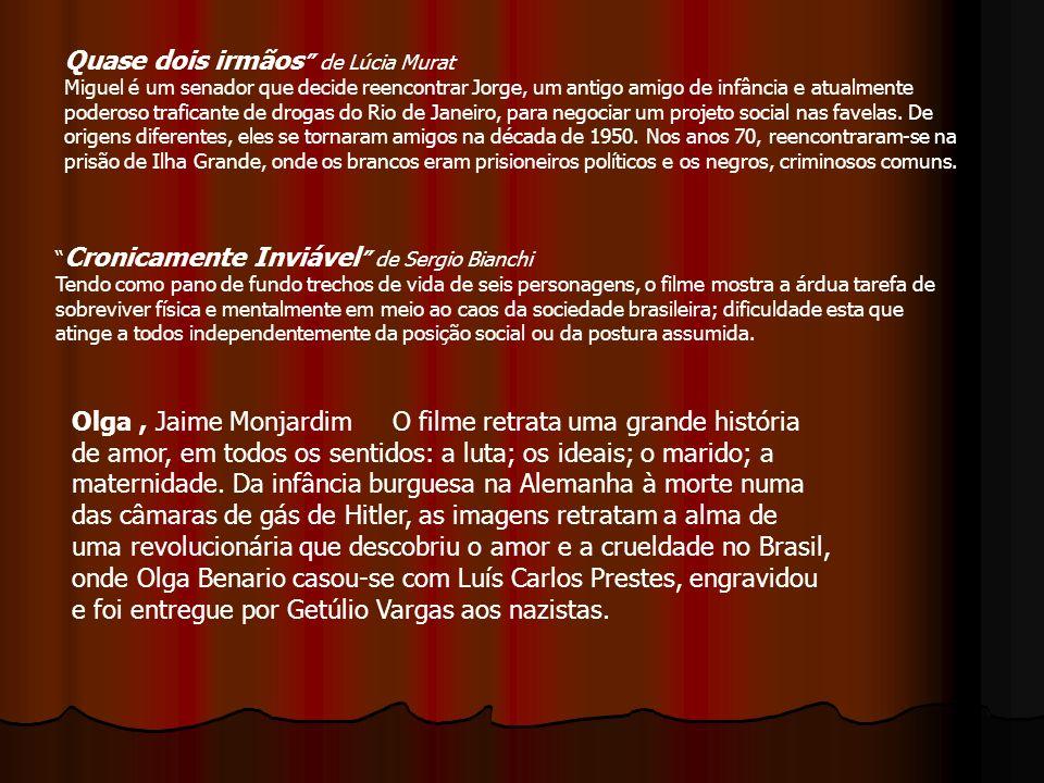 Cronicamente Inviável de Sergio Bianchi Tendo como pano de fundo trechos de vida de seis personagens, o filme mostra a árdua tarefa de sobreviver físi