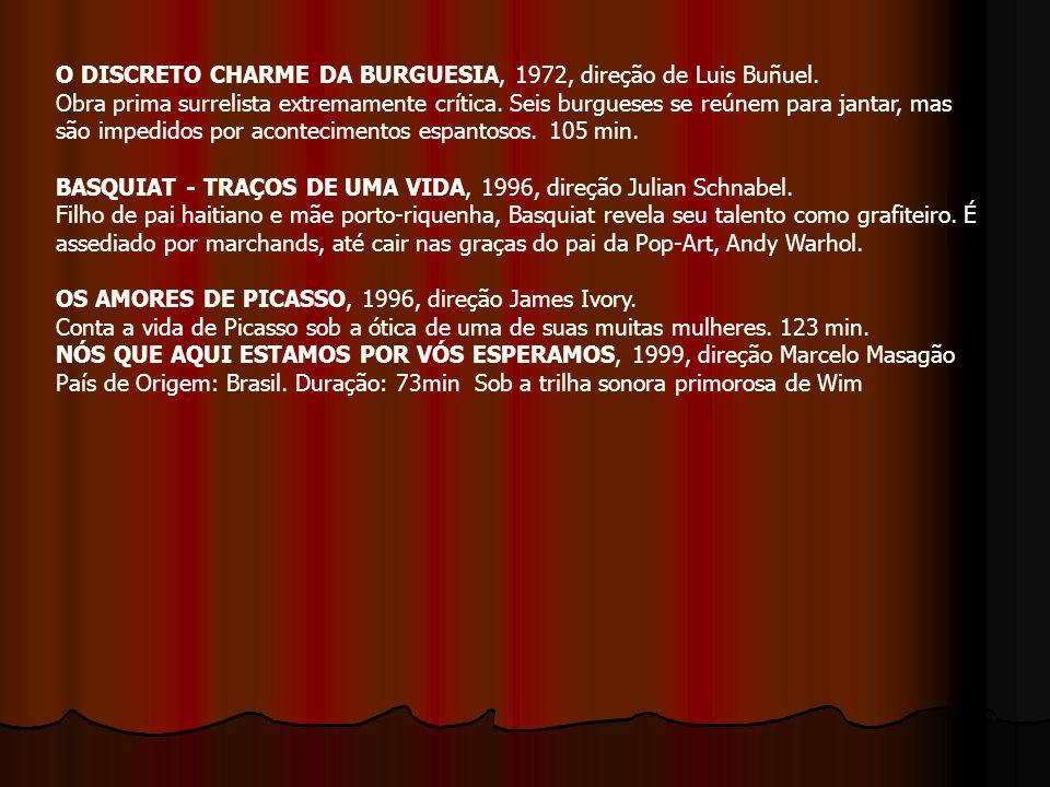 O DISCRETO CHARME DA BURGUESIA, 1972, direção de Luis Buñuel. Obra prima surrelista extremamente crítica. Seis burgueses se reúnem para jantar, mas sã