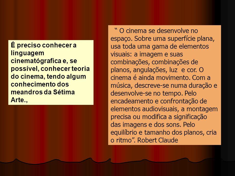 O cinema se desenvolve no espaço. Sobre uma superfície plana, usa toda uma gama de elementos visuais: a imagem e suas combinações, combinações de plan