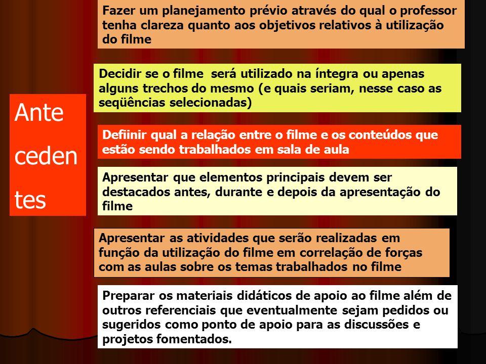 Fazer um planejamento prévio através do qual o professor tenha clareza quanto aos objetivos relativos à utilização do filme Decidir se o filme será ut