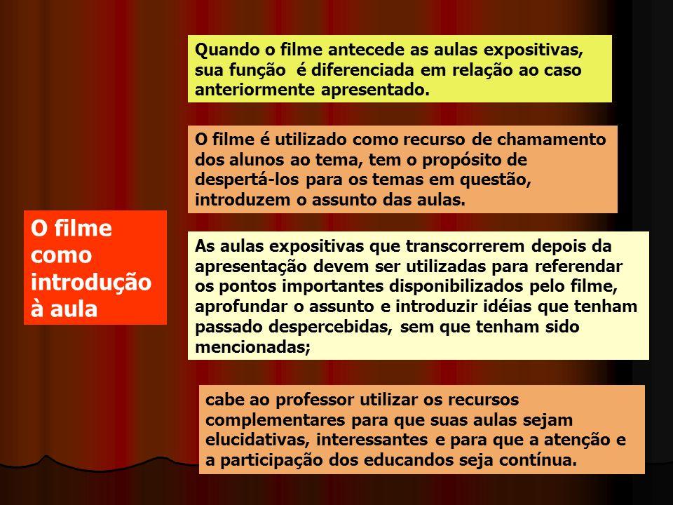 As aulas expositivas que transcorrerem depois da apresentação devem ser utilizadas para referendar os pontos importantes disponibilizados pelo filme,