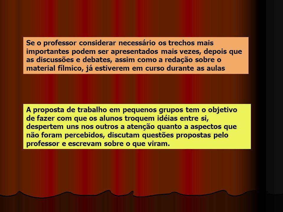 Se o professor considerar necessário os trechos mais importantes podem ser apresentados mais vezes, depois que as discussões e debates, assim como a r