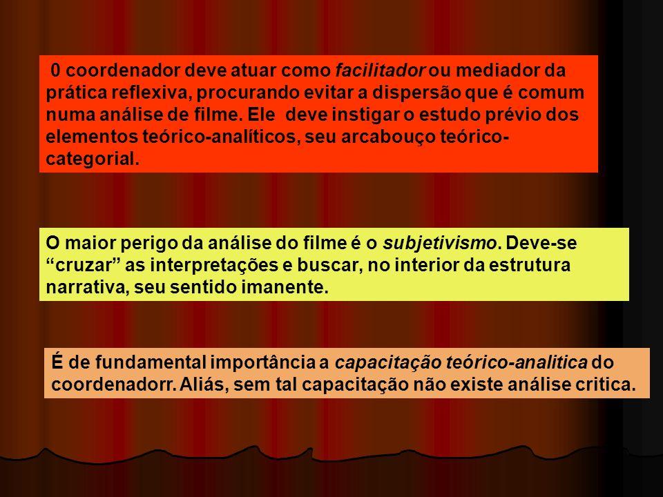0 coordenador deve atuar como facilitador ou mediador da prática reflexiva, procurando evitar a dispersão que é comum numa análise de filme. Ele deve