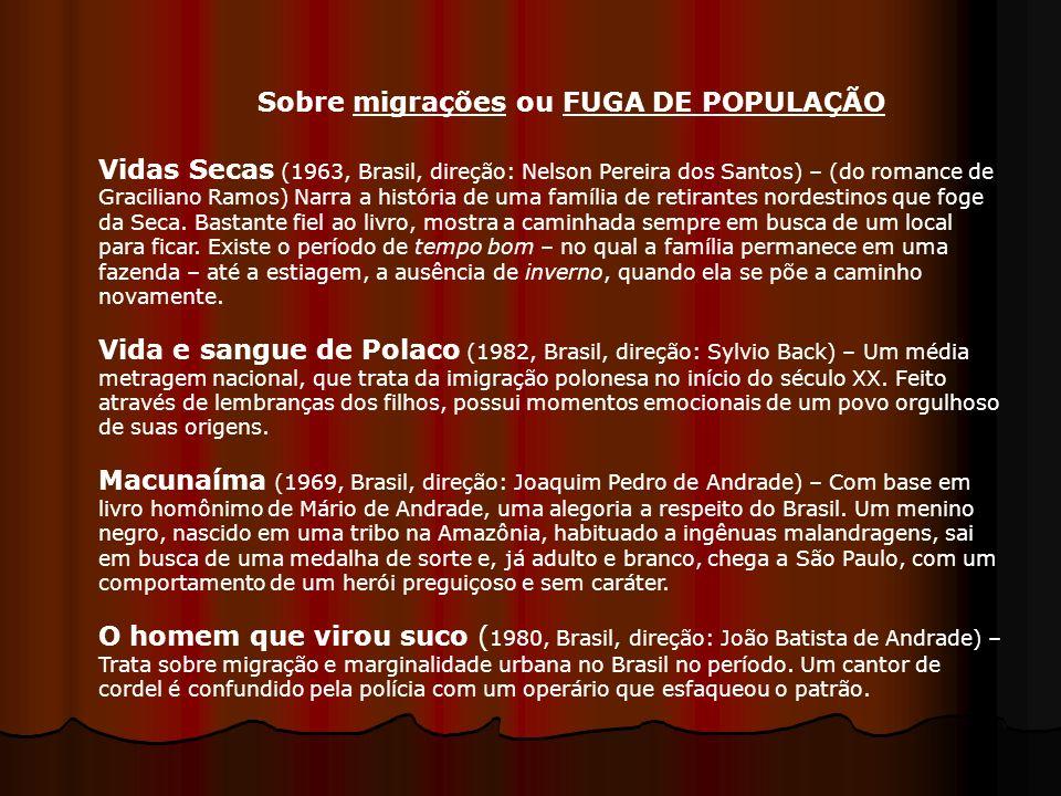 Vidas Secas (1963, Brasil, direção: Nelson Pereira dos Santos) – (do romance de Graciliano Ramos) Narra a história de uma família de retirantes nordes