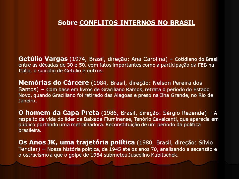Getúlio Vargas (1974, Brasil, direção: Ana Carolina) – Cotidiano do Brasil entre as décadas de 30 e 50, com fatos importantes como a participação da F