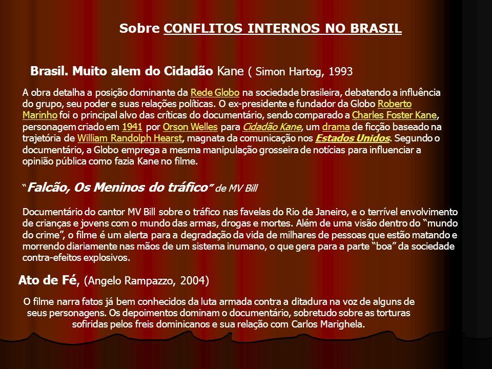 Brasil. Muito alem do Cidadão Kane ( Simon Hartog, 1993 Ato de Fé, (Angelo Rampazzo, 2004) A obra detalha a posição dominante da Rede Globo na socieda
