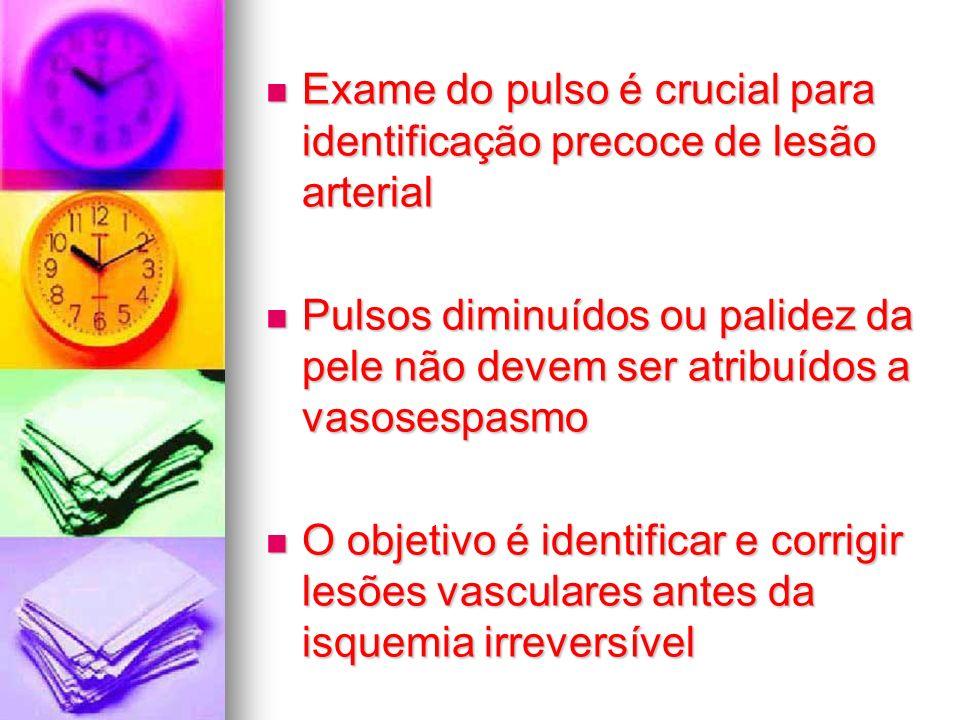 Exame do pulso é crucial para identificação precoce de lesão arterial Exame do pulso é crucial para identificação precoce de lesão arterial Pulsos dim