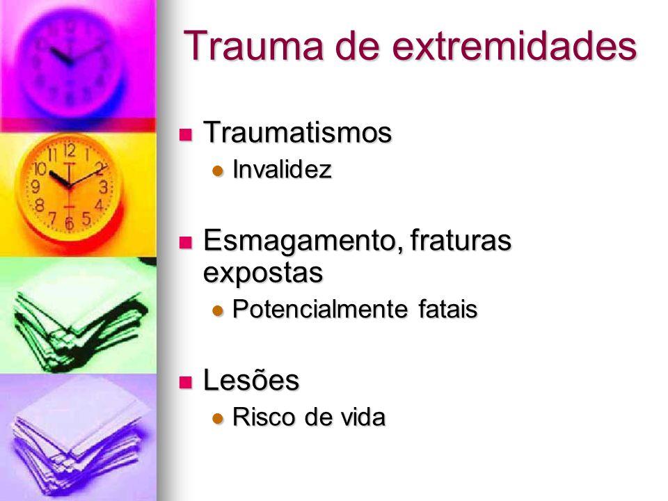 Trauma de extremidades Traumatismos Traumatismos Invalidez Invalidez Esmagamento, fraturas expostas Esmagamento, fraturas expostas Potencialmente fata
