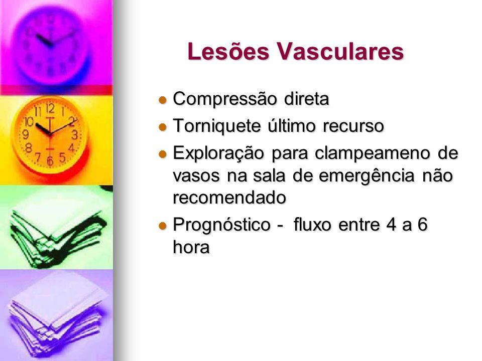 Lesões Vasculares Compressão direta Compressão direta Torniquete último recurso Torniquete último recurso Exploração para clampeameno de vasos na sala
